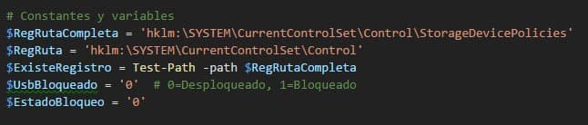 constantes y variables en terminal