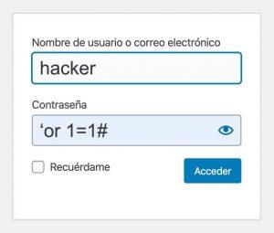 usuario hacker y código en contraseña